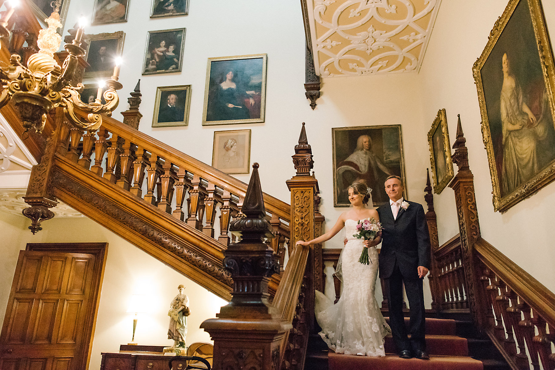bride on staircase at arley hall