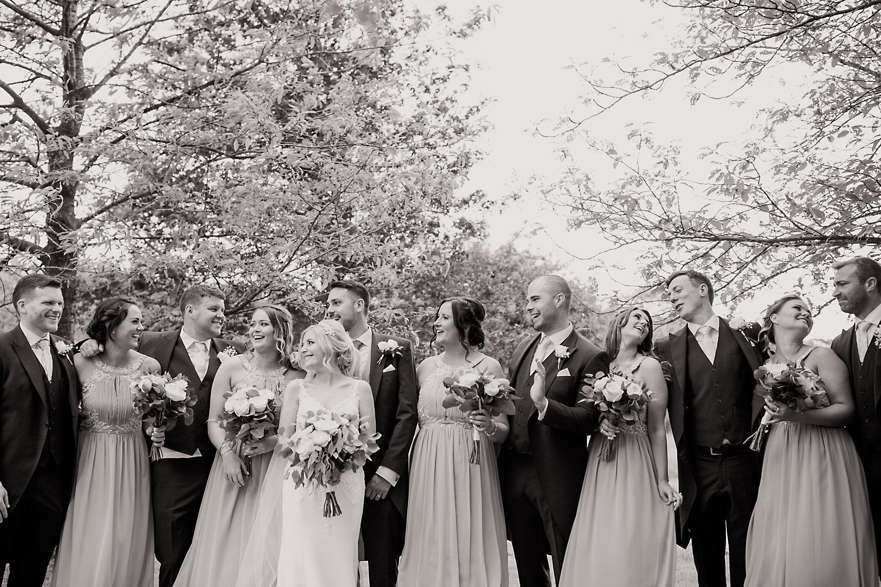 bridal party photo at holford estate