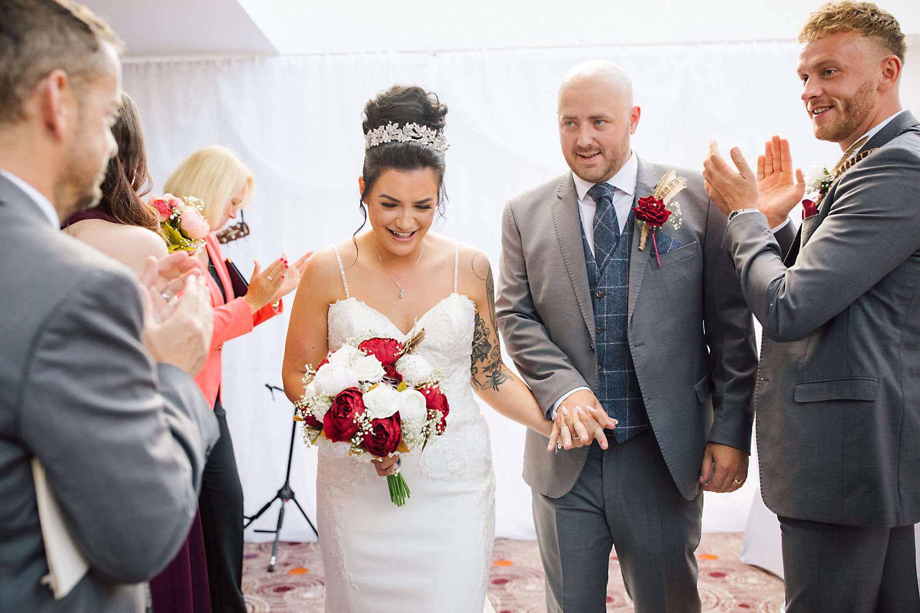bride and groom at chimney house hotel