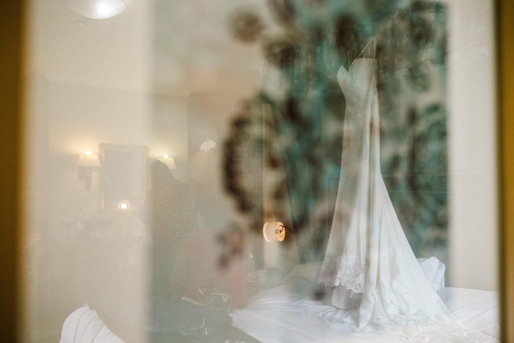 wedding dress reflection photo
