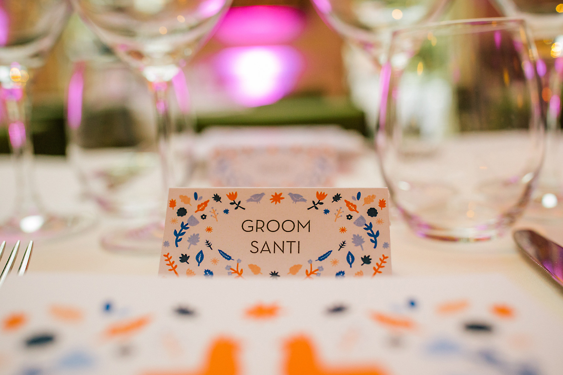 colourful wedding place settings